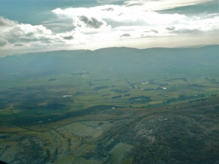 Aerial view of distinctive limestone pavement overlooking The Orton valley