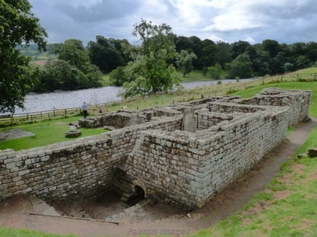 Chesters Fort Bath house looking over The Tyne River